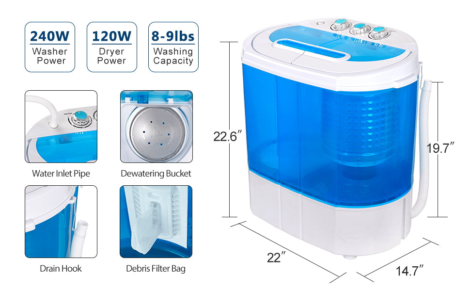 ZENY™ Portable Compact Washing Machine,Mini Twin Tub Washing Machine