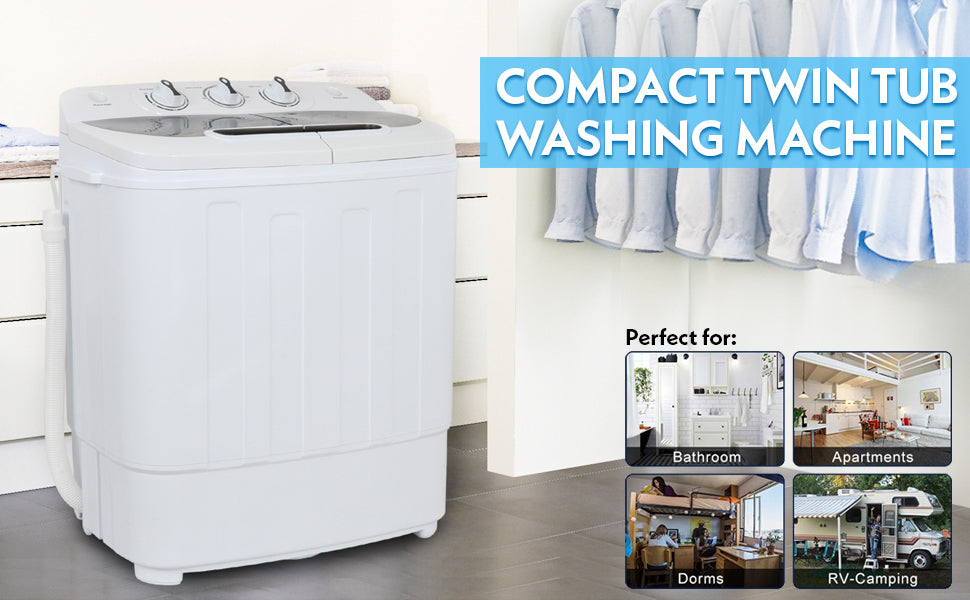 ZENY Portable Mini Twin Tub Washing Machine