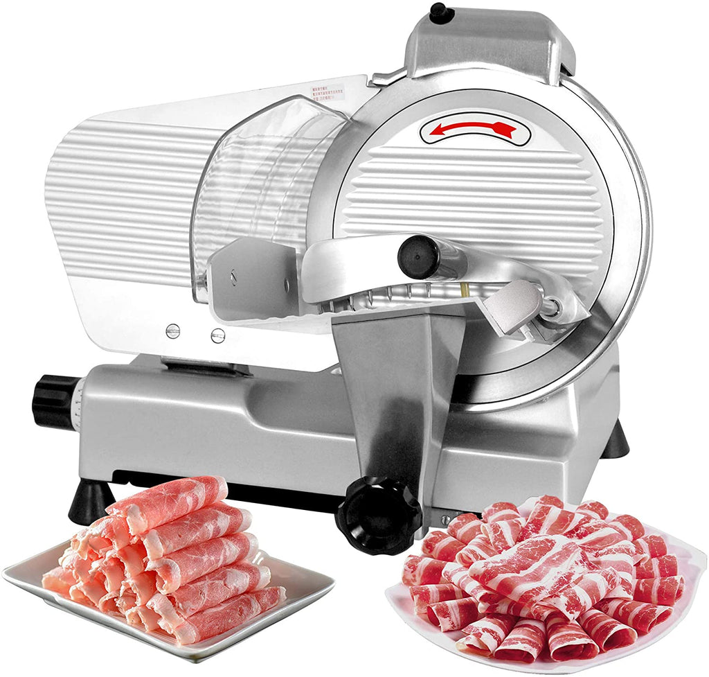 """ZENY Semi-Auto Meat Slicer Stainless Steel 10"""" Blade Electric Deli Food Veggies Cutter for Commercial & Home Use Thickness Adjustable 240W 530 RPM"""