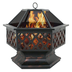 ZENY™ Fire Pit Hex Shaped Fireplace Outdoor Home Garden Backyard Firepit,Oil Rubbed Bronze (Bronze)