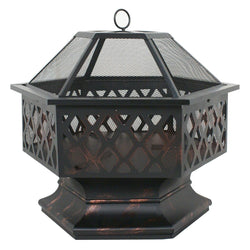 ZENY™ Fire Pit Hex Shaped Fireplace Outdoor Home Garden Backyard Firepit,Oil Rubbed Bronze