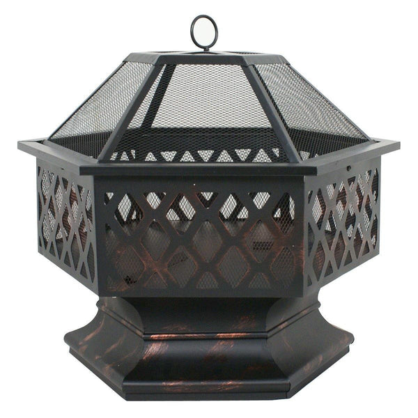Zeny Fire Pit Hex Shaped Fireplace Outdoor Home Garden