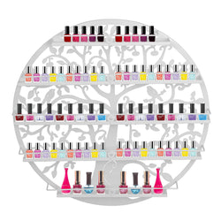 ZENY™5 Tier Nail Polish Rack Holder Wall Mount Round Salon Nail Organizer Storage Shelf,Tree Silhouette