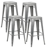 ZENY™4PCS Square Seat Bar Stool High Chair Kitchen Counter Metal Rustic Industrial