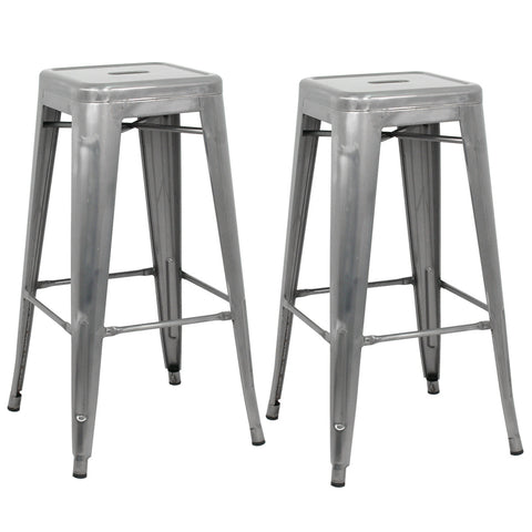 "ZENY™Height 30"" Indoor-Outdoor Stacking Transparent Metal Bar Stool with Square Seat"