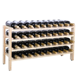 ZENY™ 40 Bottles Wine Rack Stackable Storage 6 Tier Solid Beechwood Display Shelves Rack