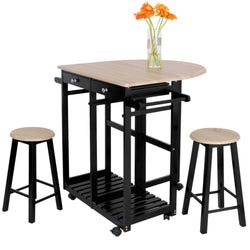 ZENY™ 3-Piece Rolling Kitchen Island Trolley Cart Set Breakfast Bar Cart Drop-Leaf Folding Table w/2 Stools and 2 Drawers, Enjoy Indoor & Outdoor Dining