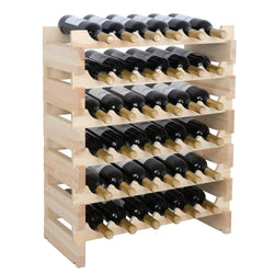 ZENY™ Compact Free-Standing Wine Rack 36 Bottles Stackable Storage 6 Tier Solid Secured Wood Display Shelves