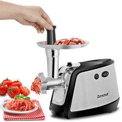 ZENY™ Electric Meat Grinder - Stainless Steel Meat Mincer with 3 Grinding Plates and Sausage Stuffing Tubes for Home & Commercial Use - 1000W Max