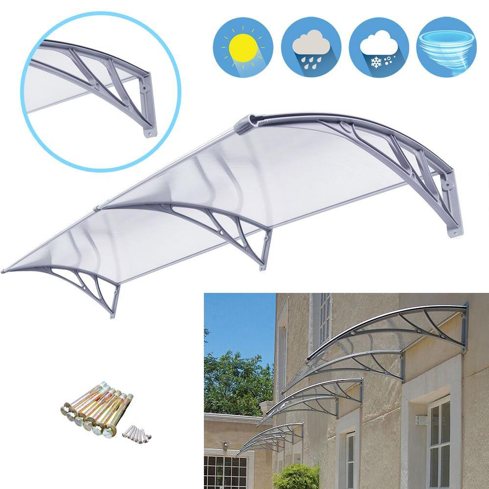 "ZENY™ 40""X80"" Overhead Clear Door Window Awning Outdoor Patio glassy Cover Canopy"