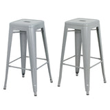 ZENY™Silver Metal Counter Stools Bar 30 Inch Backless Stacking Square Set Of 2 New