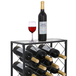 ZENY™ Black 23 Bottle Wine Rack w/ Glass Table Top Free-standing Floor Steel Wine Holder Organizer Wine Display Shelf