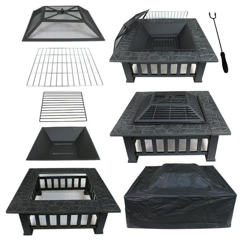 "ZENY™ Fire Pit 32"" Outdoor Square Metal Firepit Backyard Patio Garden Stove Fire Pit W/cover"
