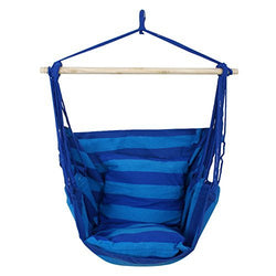 ZENY™ Hanging Rope Hammock Chair Swing Seat for Indoor or Outdoor Spaces- Max. 265 Lbs -2 Seat Cushions Included, Blue Stripe