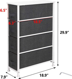 ZENY™4 Drawers Metal Frame Wood Top Narrow Vertical Dresser Storage Tower