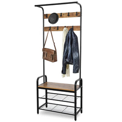 ZENY™ Industrial Coat Rack Shoe Bench, Hall Tree Entryway Storage Shelf