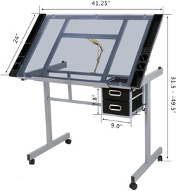 ZENY™ Silver with Blue Glass Adjustable Drawing Desk  Rolling Drafting Table