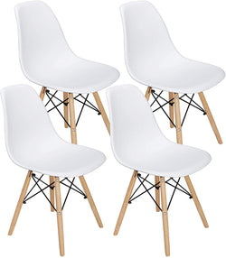 ZENY™ Set of 4 Modern Style Dining Chair, Shell Lounge Plastic Chair with Wooden Walnut Legs
