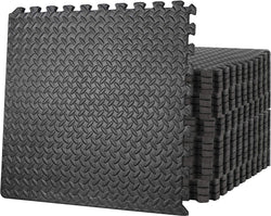 ZENY™ Exercise Mat with EVA Foam Interlocking Tiles and Edge Pieces Extra Think 3/4'' for Exercise, MMA, Gymnastics and Home Gym Yoga and Floor Protection 96 SQ.FT (24 Tiles,48 Borders)