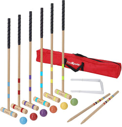 ZENY™ Six Player Croquet Set with Wooden Mallet,Wickets,Balls and Carrying Case,Classic Outdoor Yard Game for Adults and Kids