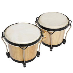 "ZENY™ 6"" and 7"" Bongo Drum Set, Percussion Instrument, Wood and Metal Drum for Kids Adults"