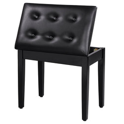 ZENY™ Padded Wooden Piano Bench Stool with Music Storage Black ULPB55H
