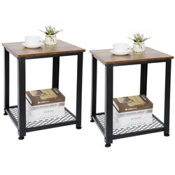 ZENY™ Set of 2 End Table, Sofa Side Telephone Table with 2-Tier Shelves, Nightstand for Bedroom