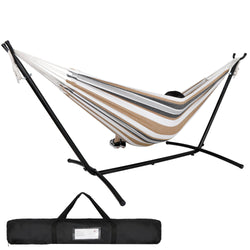 ZENY™ Double Hammock with Space Saving Steel Hammock Stand 9ft Includes Carrying Bag Desert Stripes
