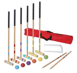 "ZENY™ 35"" Six Player Croquet Set with Wooden Mallets, Colored Balls, Stake Posts, Wickets and Carrying Case for Adults &Kids, Perfect for Lawn,Backyard,Park"