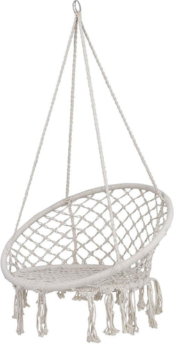 ZENY™ Hanging Hammock Chair Macrame Swing Chair Hanging Cotton Rope Swing for Indoor Outdoor Patio Garden Porch Large Swing Chairs
