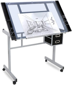 ZENY™ Tempered Glass Top Adjustable Drawing Desk Craft Station Drafting Table w/2 Drawers/Wheels