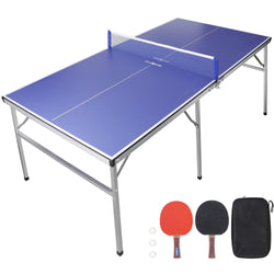 ZENY™ 6ft Portable Tennis Table Foldable Ping Pang Table with Net 2 Ping Pong Paddles 3 Balls