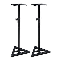 ZENY™ Studio Monitor Speaker Heavy Duty Stand Height Adjustable Pair Concert Band DJ Studio Floor Stands, Black