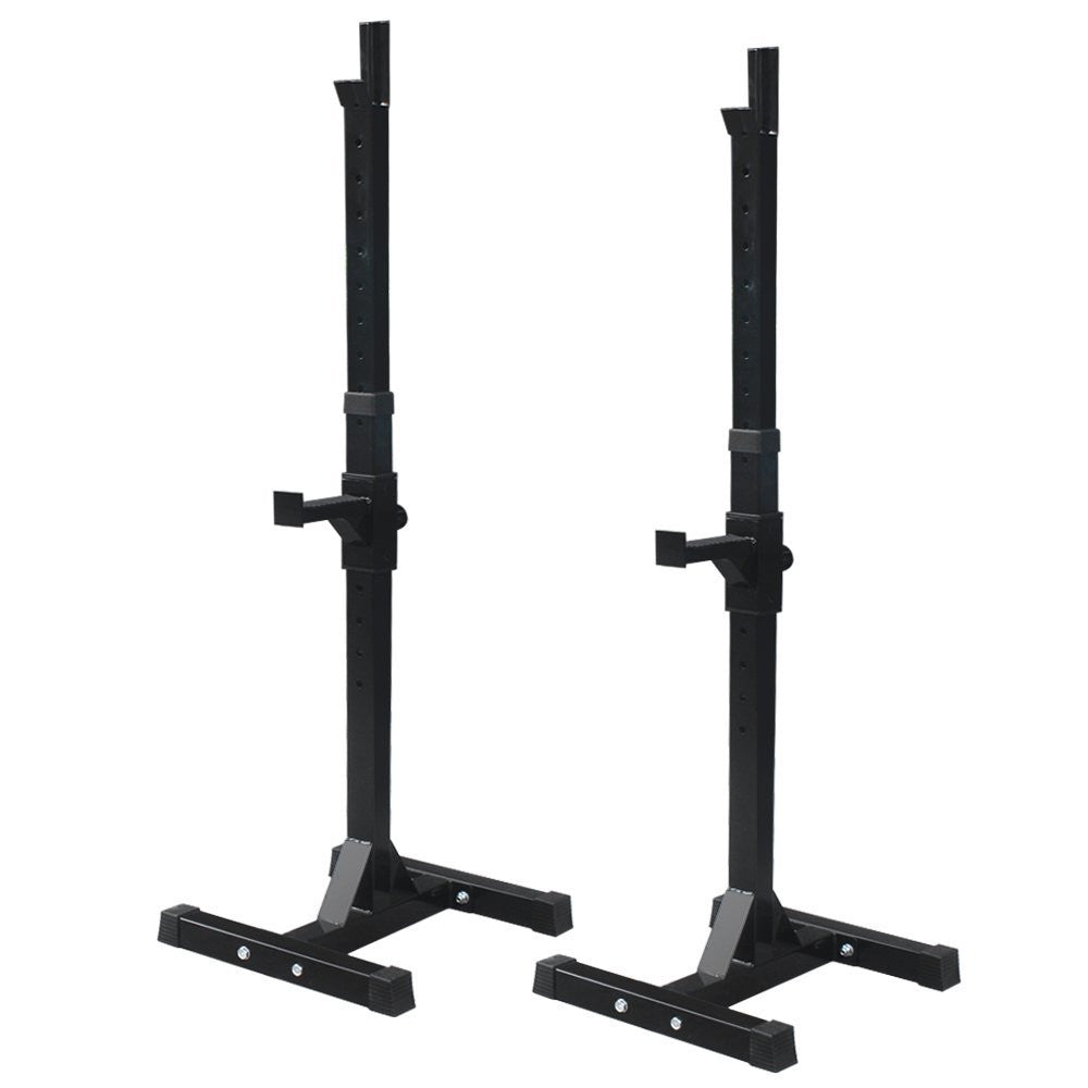 ZENY™ Set of 2 Adjustable Standard Solid Steel Squat Stands Gym Barbell Rack Free Bench Press Stands
