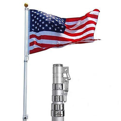 ZENY™ 25FT Telescoping Flag Pole 3'x5' American Flag & Ball Top Kit