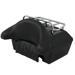 ZENY™ Universal Motorcycle Trunk Tail Box Tour Luggage w/ Wrap Around Backrest And Large Top Rack