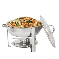 ZENY™  Round Chafing Dish 5 Quart Stainless Steel Deep Pans Chafer Dish Set w/Fuel Holder