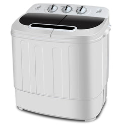 ZENY™ Portable Compact Mini Twin Tub Washing Machine w/ Wash and Spin Cycle, Built-in Gravity Drain, 13lbs Capacity For Camping, Apartments, Dorms, College Rooms, RV's, Delicates and more