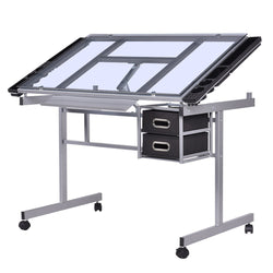 ZENY™ Craft Station Rolling Drafting Table,Adjustable Drawing Desk Silver with Blue Glass,Drawers