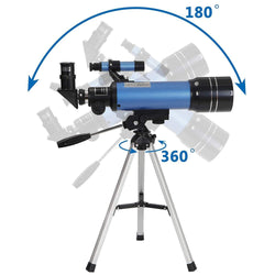 ZENY™ 70mm Refractor Telescope 16X - 200X Magnification with Tripod & Finder Scope