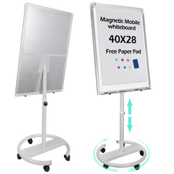 ZENY™ Mobile Magnetic Dry Erase Board 40''x28'' Magnetic Whiteboard On Wheels,Height Adjustable