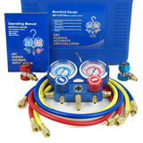 "ZENY™ HVAC A/C Refrigeration Kit AC Manifold Gauge Set Brass R134A  1/4"" SAE Fitting"
