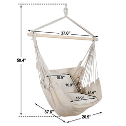 ZENY™ Hammock Chair Hanging Rope Swing Cotton Weave Swing Seat Max Weight 330lb Portable Carrying Bag