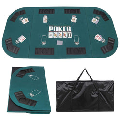 ZENY™ 8 Player Folding Poker Game Table Top 71''x35'' Oval Padded Texas Poker Card Mat Tabletop