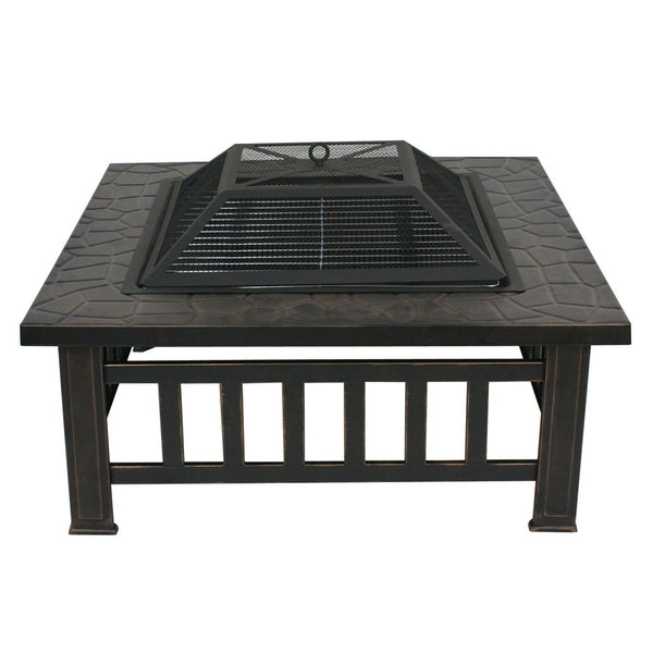 Zeny Fire Pit 32 Quot Outdoor Square Metal Firepit Backyard