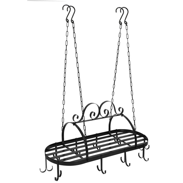 ZENY™ Hanging Iron Pot Rack Ceiling Mounted Kitchen Storage Utility  Cookware Hook Rack Pan Hanger with 10 hooks
