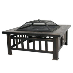 "ZENY™  32"" Outdoor Fire Pit Square Metal Firepit Backyard Patio Garden Stove Wood Burning Fire Pit W/Rain Cover"