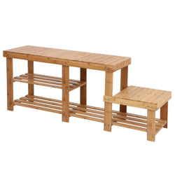 ZENY™ 100% Natural Bamboo Shoe Bench Entryway Storage Rack with High and Low Levels