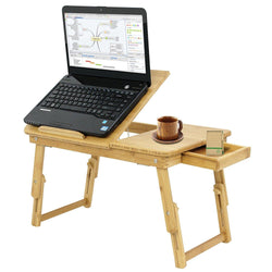 ZENY™ 100% Adjustable Bamboo Laptop Desk Foldable Breakfast Serving Bed Tray w'