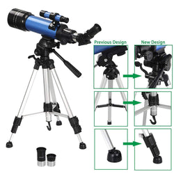 ZENY™ 70mm Aperture Astronomical Refractor Telescope w/ Carry Bag, Smartphone Adapter